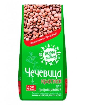 Чечевица красная для проращивания, Всем на пользу, 425 гЗерно для проращивания, семена<br>Красная чечевица во многих странах считается символом богатства и удачи, поэтому её обязательно подают к праздничному столу. Розово-зелёная снаружи, внутри она ярко-красная. При этом она заметно мельче зеленой чечевицы. Проростки красной чечевицы облад...<br>