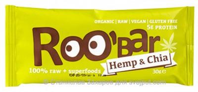 Батончик RooBar Chia  Hemp protein bio (чиа и конопля) 30г