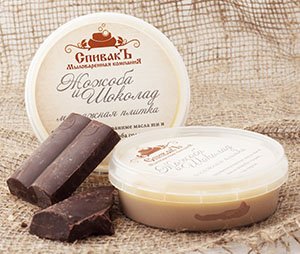 Массажная плитка Жожоба и Шоколад (твердый тающий крем для лица и тела), 75 г