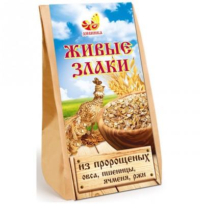 Живые злаки из пророщенных овса, пшеницы, ячменя, ржи Дивинка, 300 г