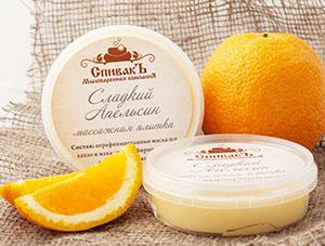 Массажная плитка Сладкий Апельсин (твердый тающий крем для лица и тела), 75 г