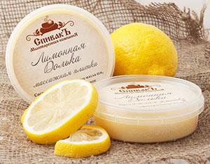 Массажная плитка Лимонная Долька (твердый тающий крем для лица и тела), 75 г
