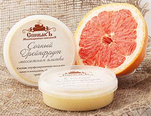 Массажная плитка Сочный Грейпфрут (твердый тающий крем для лица и тела), 75 г
